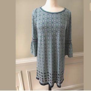 Max Studio Blue Green Stretch Knit Shift Dress
